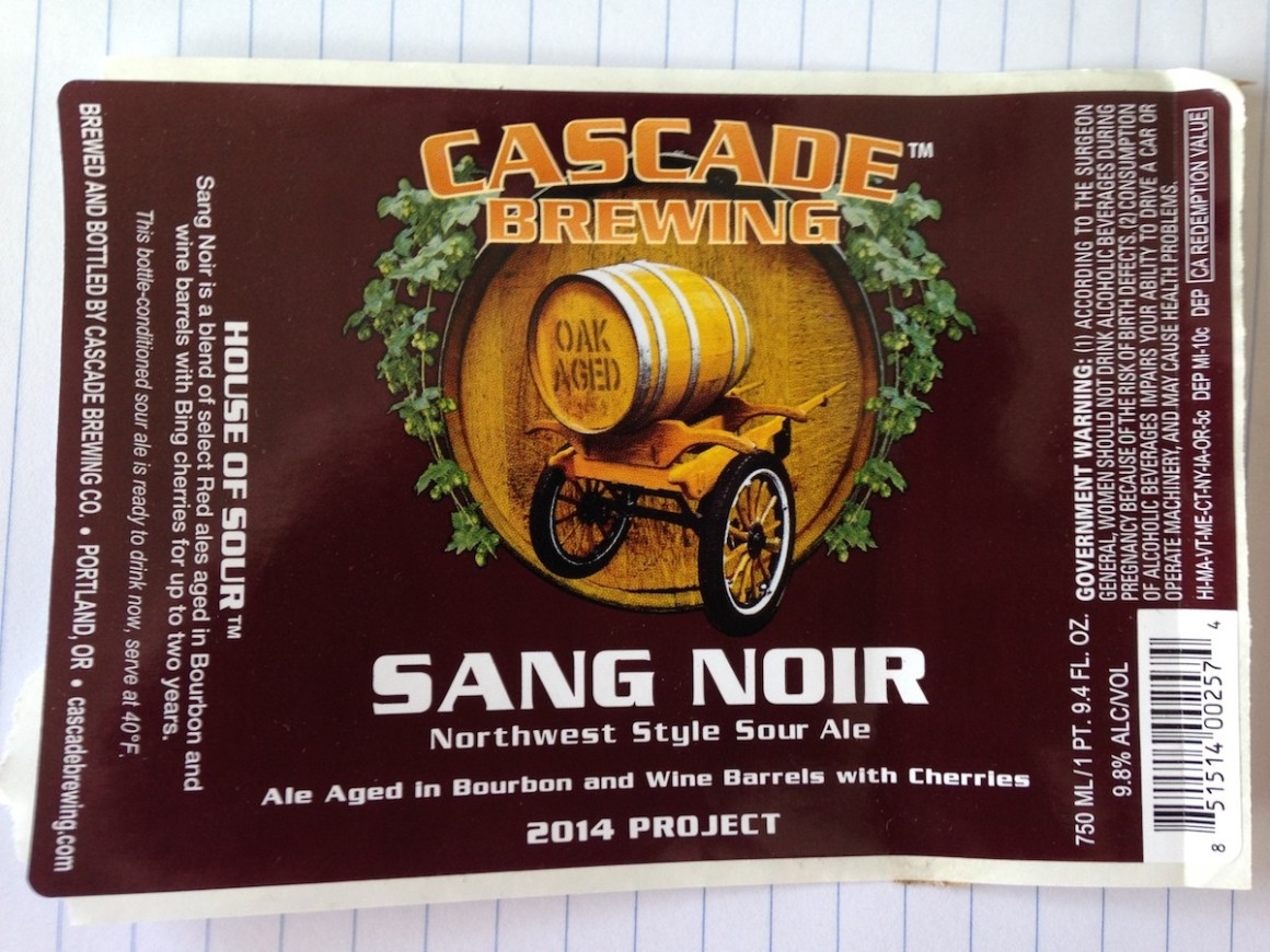 Cascade Brewing Sang Noir 2014 Project Beerknews