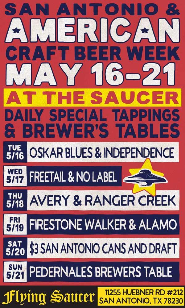 Beerknews flying saucer salutes american craft beer week for Craft beer san antonio
