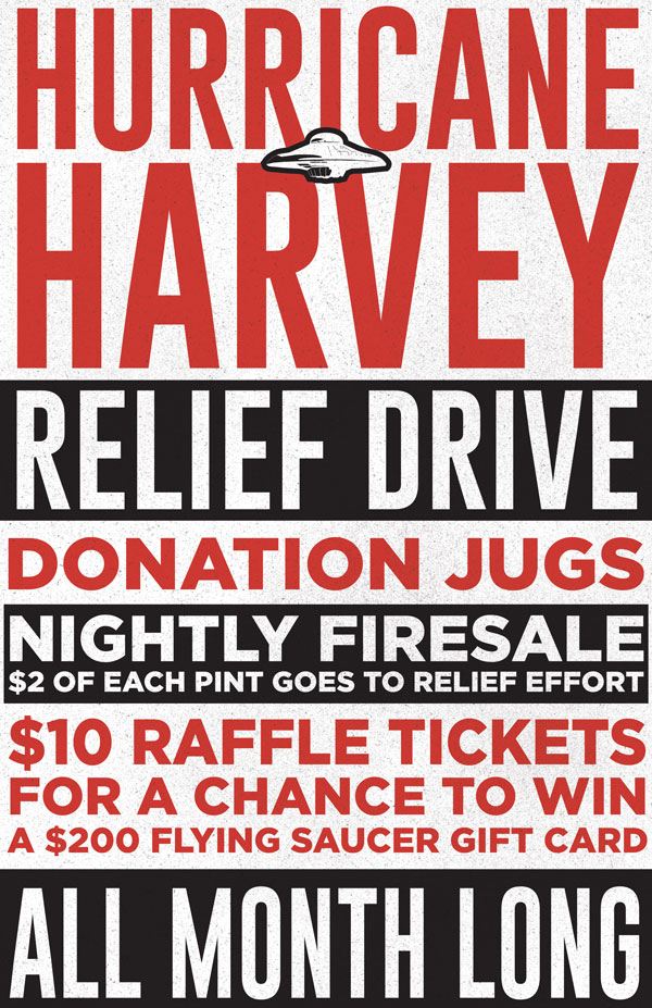 Flying Saucer Hurricane Harvey Relief Drive